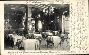 Ak Bern Stadt Schweiz, Gesellschaftsmuseum, Innenansicht, Restaurant