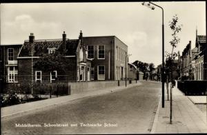 Ak Middelharnis Südholland, Schoolstraat met Technische School