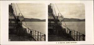 Stereo Foto NDL Schiff Der Große Kurfürst, An Bord, Blick vom Deck auf das Ufer, NPG