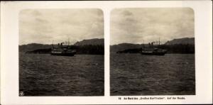 Stereo Foto NDL Schiff Der Große Kurfürst, An Bord, Auf der Reede, NPG