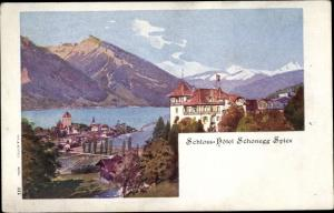 Künstler Ak Spiez am Thuner See Kanton Bern, Schlosshotel Schonegg