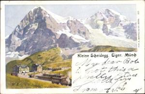 Litho Kanton Bern, Berner Oberland, Kleine Scheidegg, Eiger, Mönch