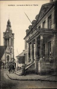 Ak Viarmes Val-d´Oise, Entrée de la Mairie l'Église