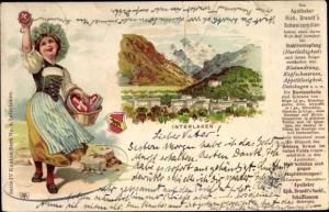 Litho Interlaken Kanton Bern Schweiz, Panorama, Apotheker Rich. Brandt´s Schweizerpillen, Wappen