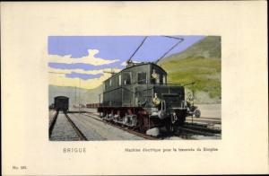 Passepartout Ak Brigue Brig Glis Kt Wallis Schweiz, Machine electrique pour la traversee du Simplon