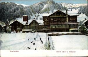 Präge Ak Adelboden Kanton Bern Schweiz, Hotel Adler und Kursaal