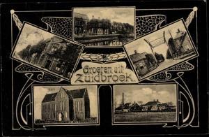 Ak Zuidbroek Groningen Niederlande, Hotel, Kirche, Strassenansicht