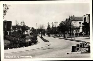 Ak Winsum Groningen Niederlande, Stationsweg