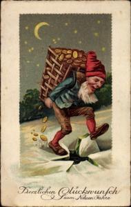 Mondschein Ak Glückwunsch Neujahr, Zwerg mit Korb voller Geld