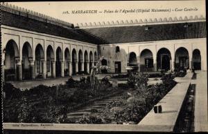Ak Marrakesch Marokko, Palais de l'Aguedal, Cour Centrale