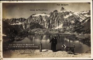 Ak St Bernard Sankt Bernhard Wallis, Lac du Grand, Glacier des Fourhons