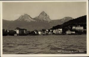 Ak Brunnen Kt Schwyz, Ort mit den Mythen