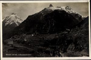 Ak Wassen Kt Uri Schweiz, Panorama vom Ort mit 3 Eisenbahnbrücken