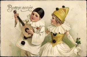 Ak Glückwunsch Neujahr, Junge mit Mandoline, Mädchen mit Fliegenpilz und Kleeblättern