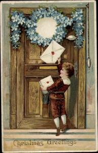 Ak Weihnachten Glückwunsch, Junge mit Weihnachtspost, Vergissmeinnicht