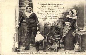 Lied Ak Les chansons de Botrel illustrees, Le fil casse, Seemann, Frau, Spinnrad, Bretagne, Tracht