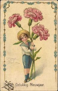 Präge Litho Glückwunsch Neujahr, Junge mit Nelken