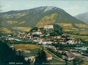 Foto Murau Steiermark, Panorama vom Ort, Photochromie