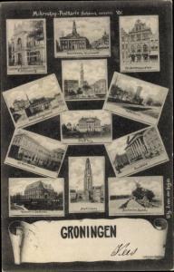 Ak Groningen Groningen Niederlande, Stadthuis, Martinitoren, Watertoren, De Harmonie