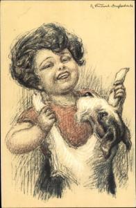 Künstler Ak Junge tanzt mit einem Terrier