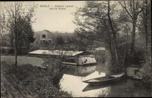 Ak Esbly Seine et Marne, Bateau Lavoir sur le Morin