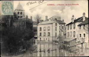 Ak Corbeil Essonne, Essonne vue de la Passerelle