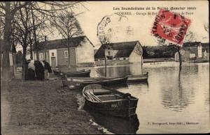 Ak Corbeil Essonne, Inondations de Janvier 1910, Garage