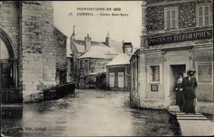 Ak Corbeil Essonne, Cloitre Saint Spire, Inondations de 1910, PTT