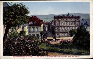 Ak Hohenstein Ernstthal in Sachsen, Markt, Weinkellerstraße, Hotel Drei Schwanen