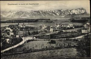 Ak Ebenhausen im Isartal Schäftlarn in Oberbayern, Ort mit Zugspitzgruppe, Bahnhof
