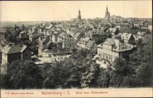 Ak Waldenburg in Sachsen, Blick vom Schlossturm auf den Ort