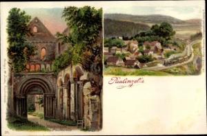 Litho Paulinzella Königsee Rottenbach in Thüringen, Klosterruine, Ortsansicht, Dampflok