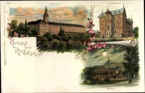 Mondschein Litho Rudolstadt in Thüringen, Anger, Rudolsbad, Schloss, Sonnenschein