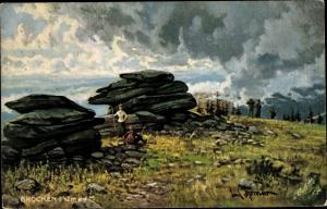 Künstler Ak Thomas, Paul, Brocken Nationalpark Harz, Felsen, Wanderer