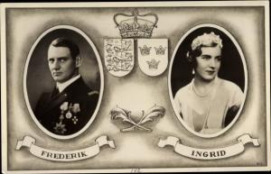 Wappen Ak König Frederik IX von Dänemark, Ingrid von Schweden