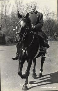 Ak König Christian X von Dänemark, Portrait, Pferd