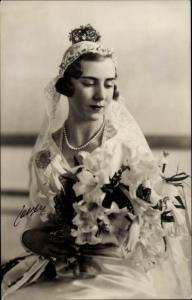 Ak Prinzessin Ingrid von Schweden, Königin von Dänemark, Portrait im Hochzeitskleid