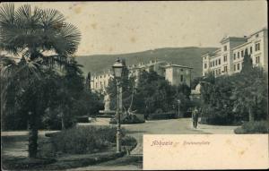 Ak Opatija Abbazia Kroatien, Brunnenplatz