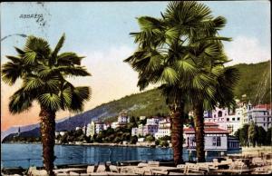 Ak Abbazia Kroatien, Palmen, Partie am Wasser