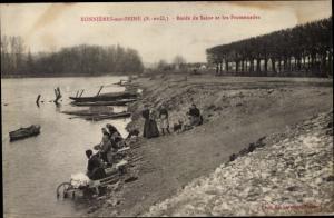 Ak Bonnières-sur-Seine Yvelines, Bords de Seine et les Promenades