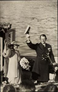 Ak Kronprinz Frederik von Dänemark, Prinzessin Ingrid von Schweden, Portrait
