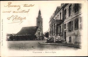 Ak Viarmes Val-d´Oise, Mairie et Église