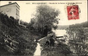 Ak Billancourt Hauts de Seine, Bords de la Seine et Pont de Sevres