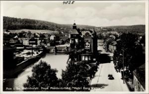 Ak Auerbach im Erzgebirge, Bahnhofstraße, Neue Muldenbrücke, Hotel Burg Wettin