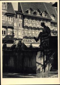 Ak Braunschweig in Niedersachsen, Till Eulenspiegelbrunnen auf dem Bäckerklint