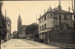 Ak Saint Gratien Val d'Oise, Rue de l´Église