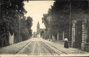 Ak Saint Gratien Val d'Oise, Avenue de Soisy et Église