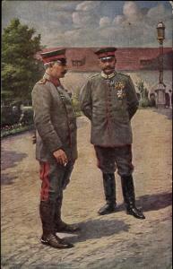 Künstler Ak Poznań Posen, Deutscher Kaiser Wilhelm II, Generalfeldmarschall Paul von Hindenburg