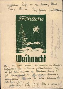 Ak Frohe Weihnachten, Tannenbaum, Winterlandschaft