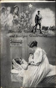 Ak Weihnachtsgrüße, Engel, Frau mit Kind und Soldat